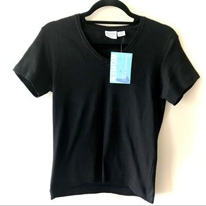 Nantucket Brand V-Neck Black Basic T-Shirt Sz M